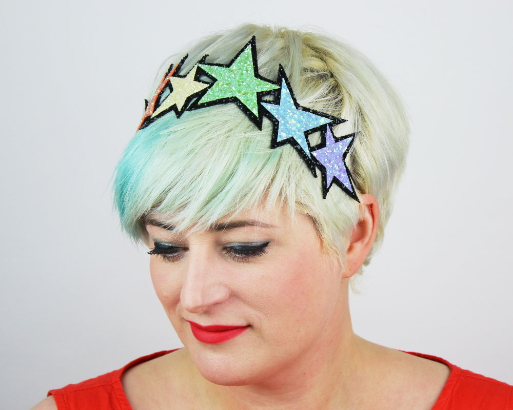 Glitter Pastel Rainbow Stars Headband - product images  of