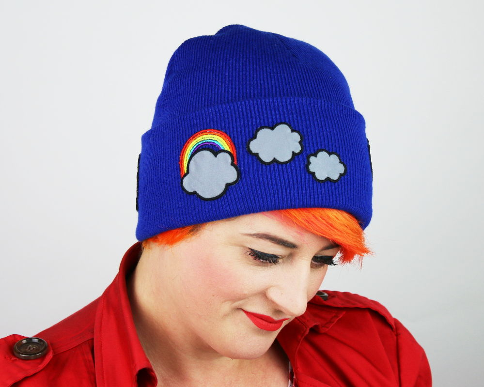 Reflective Safety Beanie Cap, Rainbows and Clouds, with or without Pom Pom - product images  of