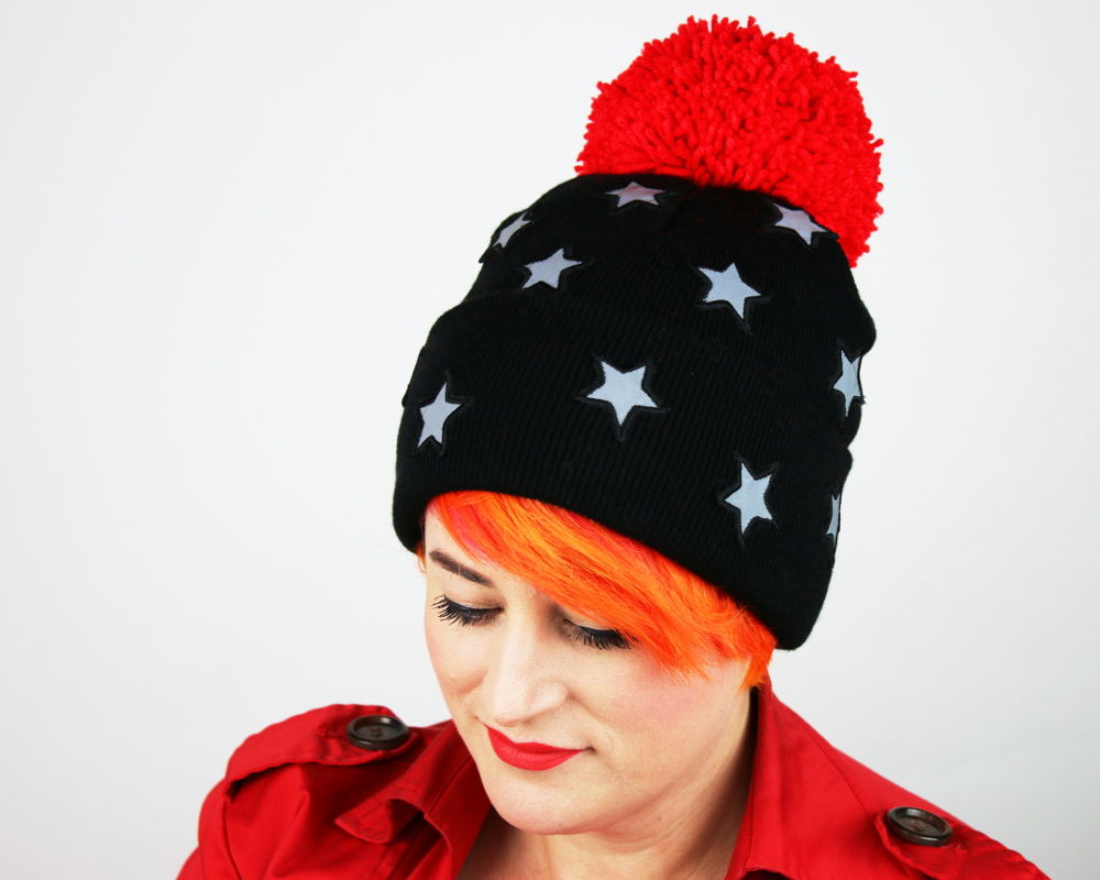 Reflective Safety Beanie Cap, Stars with or without Pom Pom - product images  of