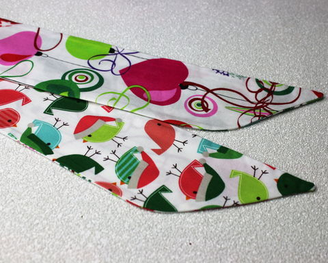 Xmas,Ornaments,and,Birds,Reversible,Wired,Headband,dolly bow headband, wired, tie hair band