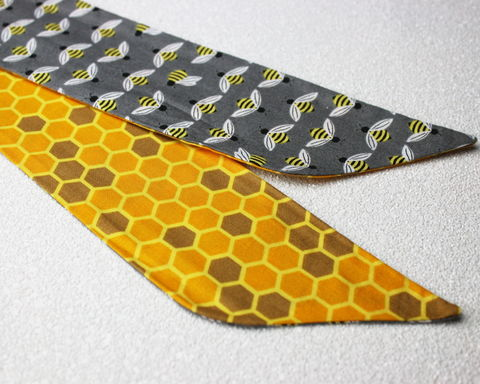 Bees,and,Honeycomb,Reversible,Wired,Headband,dolly bow headband, wired, tie hair band