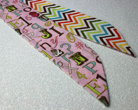 Letters,and,Chevron,Rainbow,Reversible,Wired,Headband,dolly bow headband, wired, tie hair band