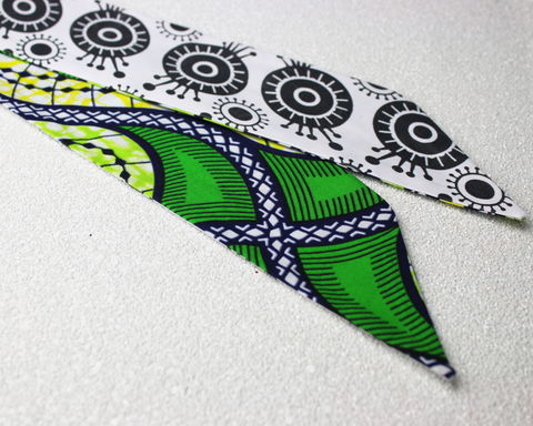 African,Prints,Green,with,Black,and,White,Reversible,Wired,Headband,dolly bow headband, wired, tie hair band