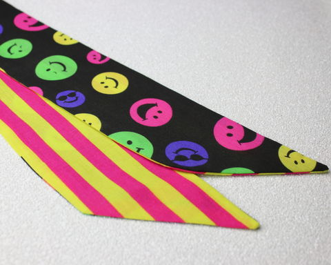 Smilies,and,Neon,Stripes,Reversible,Wired,Headband,dolly bow headband, wired, tie hair band