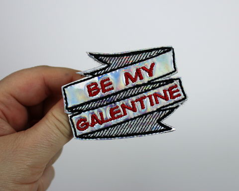 Be,My,Galentine,,Galentine's,Day,Hair,Clip,or,Brooch,,Holographic,Rainbow,holo, hair clip, valentine, rainbow, pride, lgbt