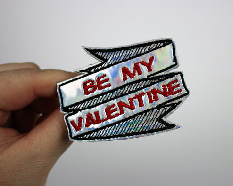 Be,My,Valentine,,Valentine's,Day,Hair,Clip,or,Brooch,,Holographic,Rainbow,holo, hair clip, valentine, rainbow, pride, lgbt