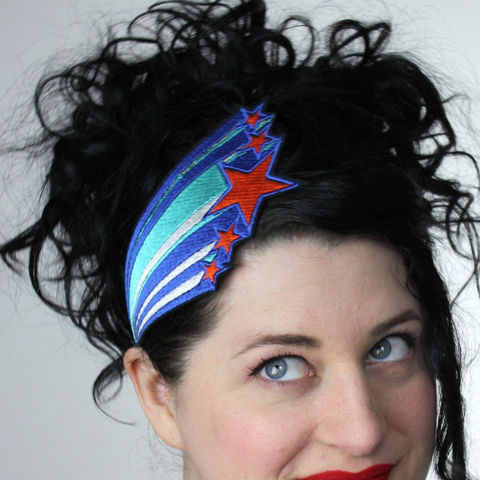 Shooting,Stars,Headband,,Retro,1970s,Style,,Various,Colours,Accessories,Women,hair,headband,shooting_stars,bright_blue,turquoise,orange,retro_funky,shining_stars,janinebasil,uk,shooting_star,star_headband,elastic_headband,polyester_felt,rayon_thread,elastic