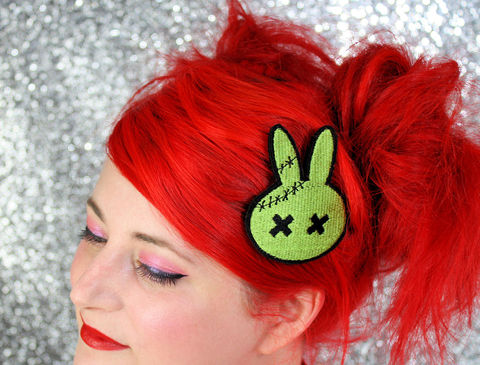Zombie,Bunny,Hair,Clip,,Animal,,Green,Accessories,Clip,women,janine_basil,hair_clip,barette,womans_hair_clip,kawaii_hair_clip,cute_hair_clip,zombie_hair_clip,green_zombie,stitched_zombie,bunny_zombie,zombie_bunny,rabbit_hai_clip,polyester_felt,rayon_thread,elastic