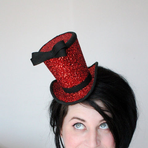 Red,Glitter,Mini,Top,Hat,,Burlesque,Accessories,Hat,top_hat,burlesque_hat,ruby_red_glitter,circus_top_hat,black_bow,theatrical_hat,vintage_style,women,janinebasil,uk,wholesale,ttt,red_glitter,buckram,elastic,wire