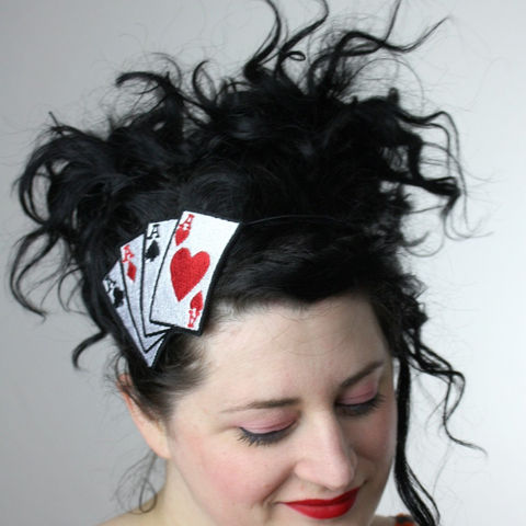 Aces,Headband,,Playing,Cards,,Poker,Tattoo,,Adult,Rockabilly,Accessories,Hair,women,headband,janine_basil,uk,playing_cards,ace_of_hearts,lucky_aces,Aces_headband,Retro_tattoo,Ace_of_spades,Ace_headband,Poker_headband,rockabilly_headband,polyester_felt,rayon_thread,elastic