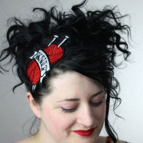 Tattoo,Inspired,Headband,Knit,,Various,Colours,Accessories,Hair,women,headband,janine_basil,janinebasil,uk,tattoo,retro,fire_red,knitting,knit_needles,embroidered,polyester_felt,rayon_thread,elastic