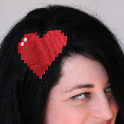 Pixelated,Heart,Headband,,Retro,Gaming,Inspired,Accessories,Hair,Headband,women,headband,headpiece,fun_and_funky,janinebasil,uk,wholesale,ruby_red,retro_gaming,geek,pixelated_heart,ttt,polyester_felt,rayon_thread,elastic