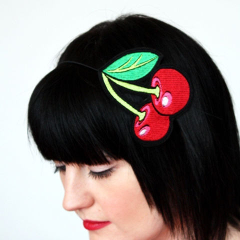Cherries,Headband,,Red,with,hints,of,Shocking,Pink,Accessories,Hair,Headband,women,headband,cute,cherries,cherry_red,fruit,rockabilly,janinebasil,janine_basil,uk,wholesale,cherry,polyester_felt,rayon_thread,elastic