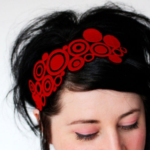 Pop,Art,Circles,Headband,,Various,Colours,Accessories,Hair,Headband,hair,headband,pop_art_circles,black,headpiece,janinebasil,red,ruby_red,circles_headband,red_headband,adult,women,womens_headband,polyester_felt,rayon_thread,elastic