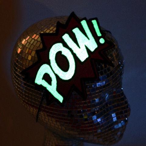 Glow,in,the,Dark,POW,Headband,,Your,Colour,Choice,Accessories,Hair,Headband,geek,comic,embroidered,cartoon,janinebasil,uk,wholesale,halloween,glow_in_the_dark,green_glow,personalized,geek_headband,pow_headband,polyester_felt,rayon_thread,elastic