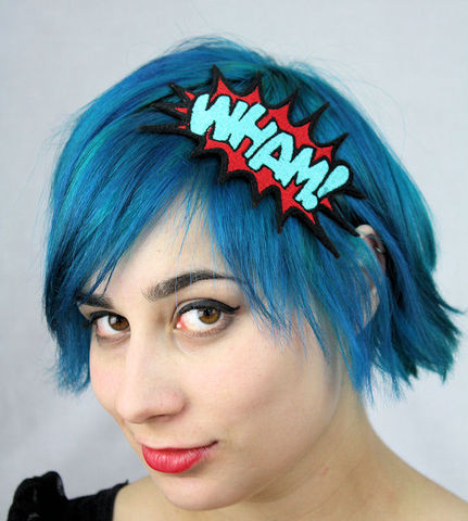 WHAM,Cartoon,Headband,,Comic,Inspired,,Red,and,Turquoise,Accessories,Hair,Headband,headband,geek,comic,janinbasil,batman,superhero_headband,geek_headband,geeky,wham,red,turquoise,comic_headband,wham_headband,polyester_felt,rayon_thread,elastic