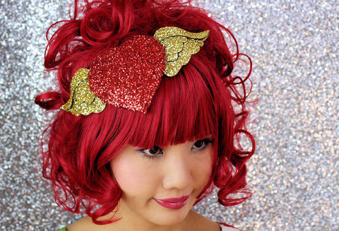 Winged,Heart,Fascinator,,Red,and,gold,,burlesque,style,Accessories,Hat,Women,fascinator,gold,heart,valentine,glitter,women,retro,janinebasil,glamour,ruby_red,wings,fantasy,buckram,wire,glitter_fabric,felt