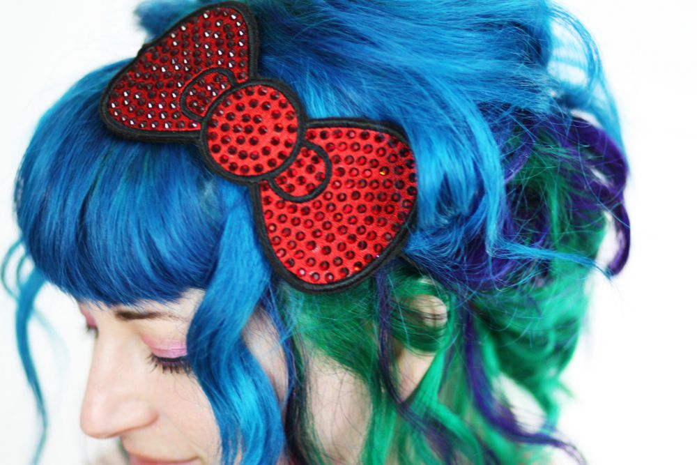 Rhinestone Bow Headband, Various Colours - product images  of