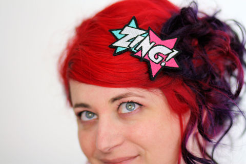 ZING,Hair,Clip,,Comic,Book,Barrette,,Various,Colours,Accessories,Clip,women,janine_basil,hair_clip,barette,hair_barrette,cute_barrette,comic_hair_clip,comic_barrette,comic_book_barrette,zing_hair_clip,turquoise,pink,white,polyester_felt,rayon_thread,elastic