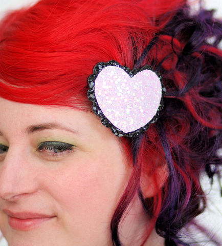 Glitter,Heart,Hair,Clip,,Various,Colours,Accessories,Clip,women,janine_basil,hair_clip,barette,heart,hair_barrette,cute_barrette,kawaii,pale_pink_glitter,pale_pink,iridescent_pink,glitter_hair_clip,heart_hair_clip