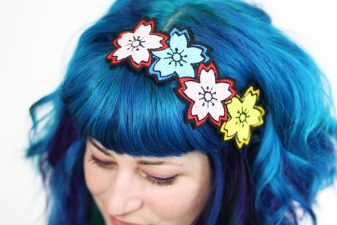 Cherry,Blossom,Headband,,Sakura,Japan,Kawaii,,Pink,,blue,&,yellow,Accessories,Hair,Headband,red,headpiece,wholesale,sakura,cherry_blossom,flowers,japanese_style,flower_headband,pink,japan,japan_kawaii,polyester_felt,rayon_thread,elastic