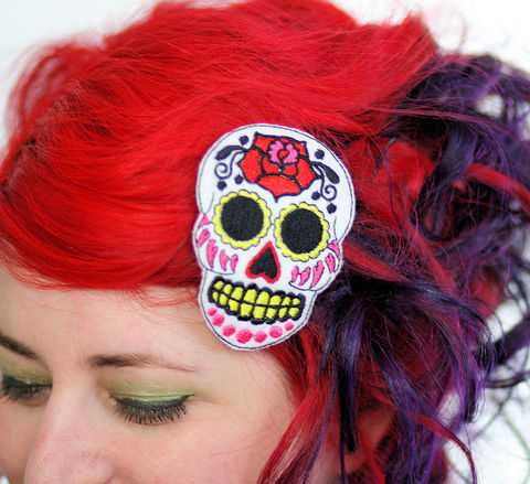 Sugar,Skull,Hair,Clip,,Day,of,the,Dead,,Pink,Accessories,Clip,women,janine_basil,rockabilly_hair_clip,sugar_skull,day_of_the_dead,dia_de_los_meurtos,cute,hair_clip,sugar_skull_hairclip,hot_pink,bright_pink,polyester_felt,rayon_thread,elastic