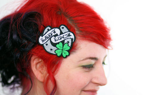 Hair,Clip,,Retro,Tattoo,Style,,Lady,Luck,Barrette,,Four,Leaf,Clover,&,Horse,Shoe,Accessories,Clip,women,janine_basil,hair_clip,barette,hair_barrette,cute_barrette,retro_tattoo_style,lady_luck,four_leaf_clover,horseshoe_hair_clip,tattoo_hair_clip,rockabilly_hair_clip,lady_luck_barrette,polyester_felt,rayon_thread,elastic