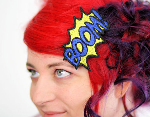 BOOM,Hair,Clip,,Comic,Book,Barrette,,Various,Colours,Accessories,Clip,women,janine_basil,hair_clip,barette,adult,comic_book,comic_hair_clip,comic_sound_effects,red,boom,comic,boom_hair_clip,metallic,polyester_felt,rayon_thread,elastic