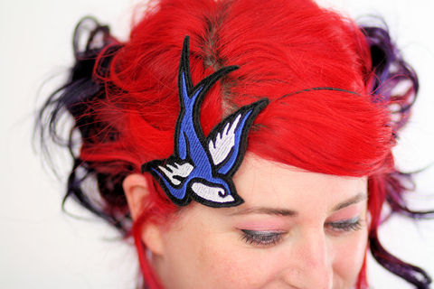 Retro,Swallow,Headband,,Tattoo,Style,Accessories,Hair,Headband,cute,janine_basil,janinebasil,uk,rockabilly,tattoo_style,retro,ruby_red,swallow_headband,tattoo_headband,retro_tattoo,retro_swallow,royal_blue,polyester_felt,rayon_thread,elastic