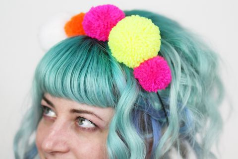 Pom,Headband,,Neon,Colours,,Kahlo,Inspired,,UV,Reactive,headband, pom poms, frida kahlo inspired, neon headband, uv reactive, neon pink, neon, green, neon yellow, white