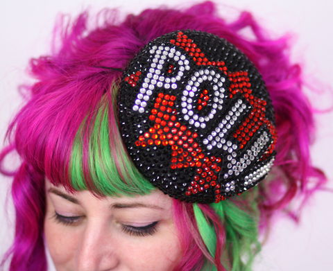 POW,Pill,Box,Cocktail,Hat,,Races,Rhinestones,,Black,,Red,,Crystal,Pow, Comic inspired hat, pill box hat, rhinestone hat