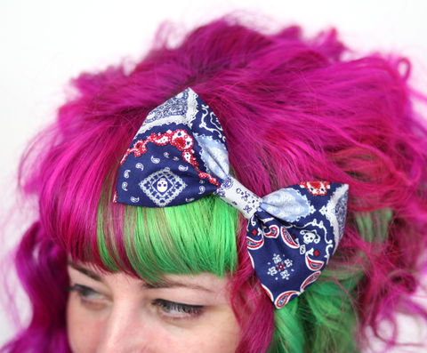 Bandana,Print,Hair,Bow,,Blue,,Red,Clip,Bow,Hair Bow, hair clip, spots, polka dots