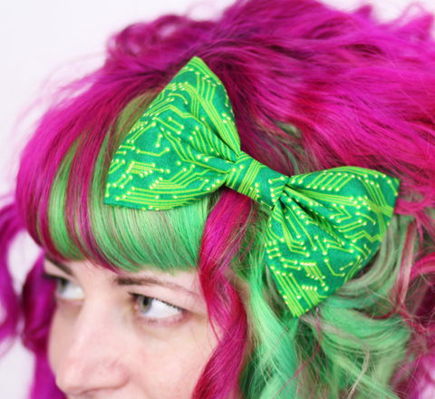Green,Circuit,Board,Hair,Bow,,Geek,Print,Clip,Hair Bow, hair clip, spots, polka dots