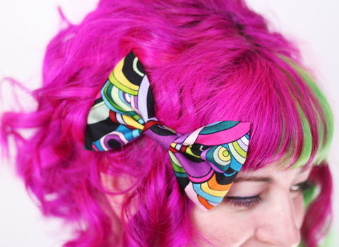 Retro,Bright,Circles,Print,Hair,Bow,,Multi,Colour,Hair Bow, hair clip, spots, polka dots