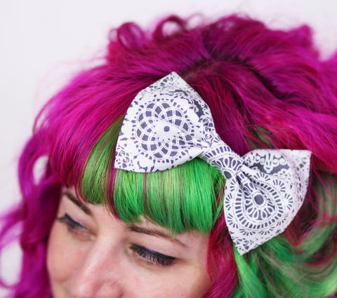 Doily,Lace,Print,Hair,Bow,,Grey,and,White,Hair Bow, hair clip, spots, polka dots