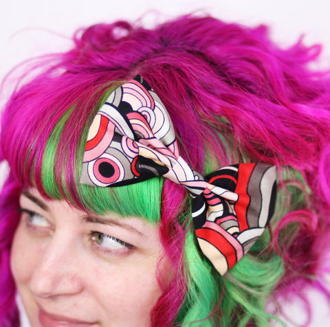 Retro,Bright,Circles,Print,Hair,Bow,,Grey,,Red,,Pink,Hair Bow, hair clip, spots, polka dots