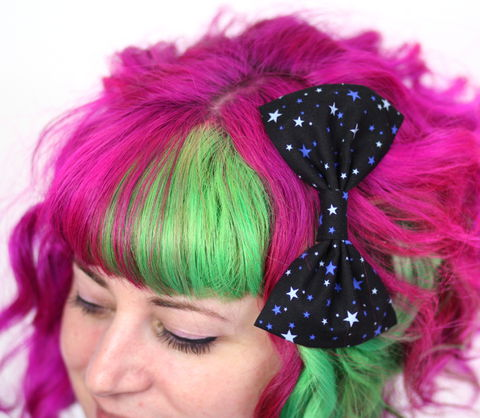 Blue,Stars,Hair,Bow,,Navy,,and,Pale,Hair Bow, hair clip, spots, polka dots