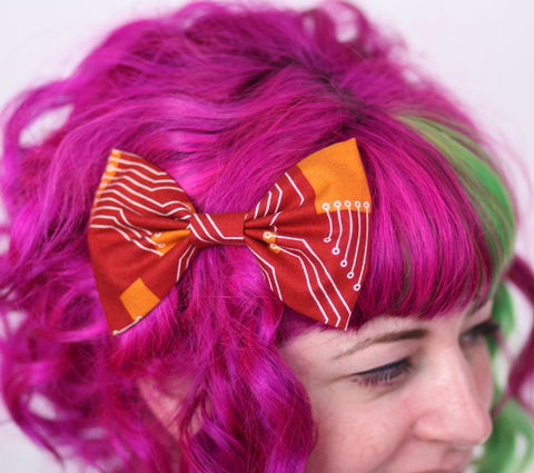 Circuit,Board,Hair,Bow,,Rust,Red,and,Burnt,Orange,Hair Bow, hair clip, spots, polka dots