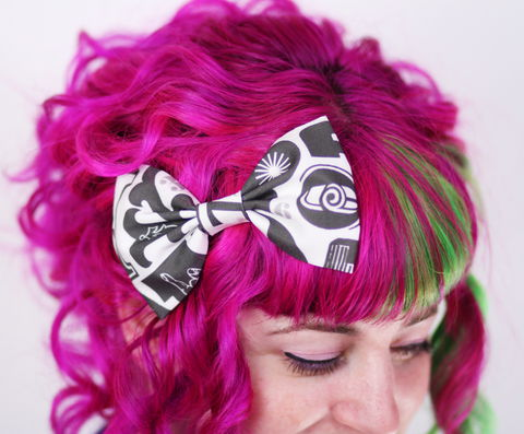 Fabric,Hair,Bow,Clip,,Cotton,Letterpress,Style,Print,,White,,Dark,Grey,Hair Bow, hair clip, spots, polka dots