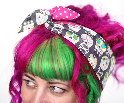 Reversible,Wired,Bow,Headband,,Sugar,Skulls,with,Pink,and,White,Spots,dolly bow headband, wired, tie hair band