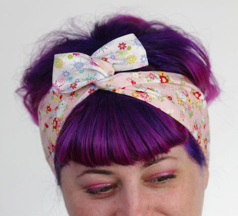 Reversible,Wired,Bow,Headband,,Pink,Kittens,with,Cute,Floral,dolly bow headband, wired, tie hair band