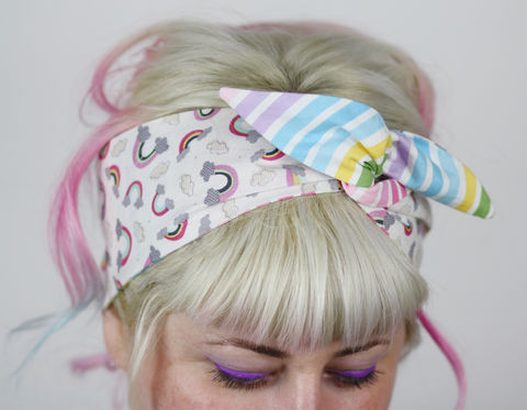 Cute,Reversible,Wired,Bow,Headband,,Pastel,Stripe,and,Rainbows,dolly bow headband, wired, tie hair band