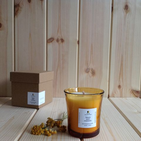 lemon,mint,rosemary,pure,botanical,candle,eco plant wax candle, aromatherapy candle, natural candle, paraffin free candle, non toxic candle, rosemary candle