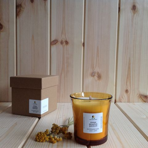 orange,geranium,patchouli,pure,botanical,candle,eco candles, vegan candles, eco plant wax candles, balancing,  aromatherapy candles, aromatherapeutic