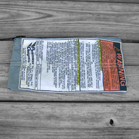Gray,Ripstop,Zipper,Pouch,with,Warning,Label,and,Black,parachute logo, zipper pouch, warning label