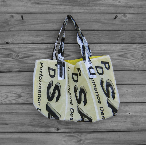 Reusable,Market,Tote,Sabre,Parachute,Logos,lined,with,Yellow,Ripstop,Parachute bag, market bag, eco friendly tote bag