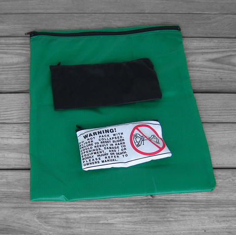 Three,Zipper,Pouches:,Green,,Black,,Warning,Labels
