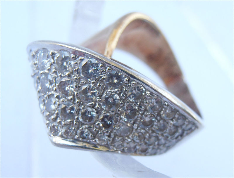 Vintage Pave Diamond 14k Gold Ring Studded Engagement Cocktail White Ribbon Twist Ladies Ring Unique Size 6.5 U.S. Womens Size 7 Artistic - product images  of