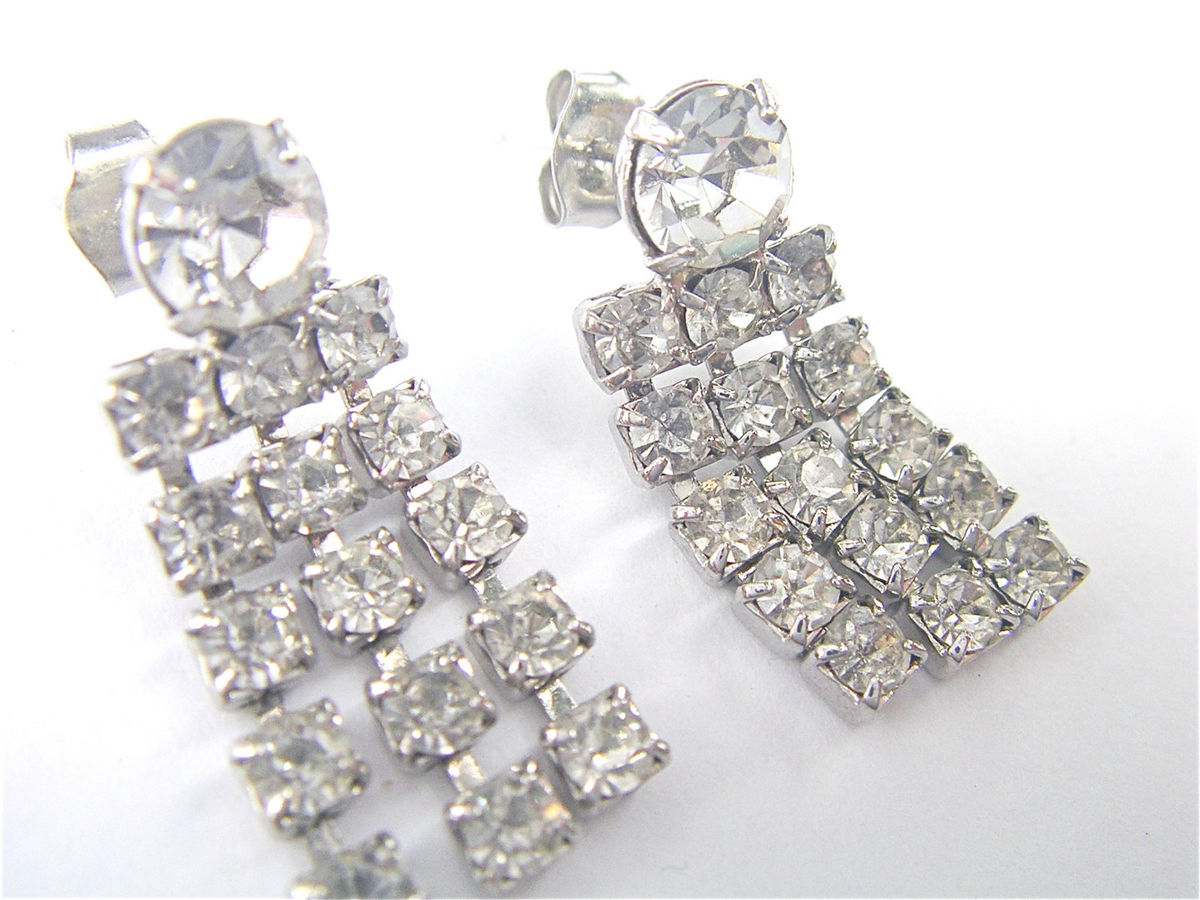 Vintage Rhinestone Earrings Vintage Art Deco Earrings Rhinestone Dangling Earrings Rhinestone Fringe Earrings Rhinestone Studded Earrings - product images  of