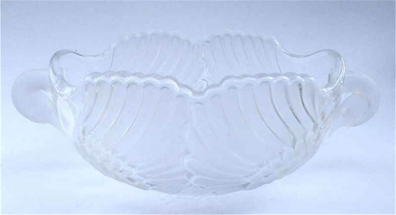 Vintage Art Deco Bowl Art Deco Crystal Swan Crystal Bowl Crystal Serving Bowl Crystal Glass Bowl Walther Glas Crystal Frosted Glass Container - product images  of
